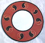 Asia art craft online catalog - Ying Yang wooden mirror in round shape