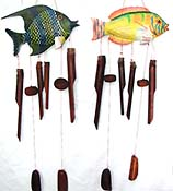 Carved fish top bamboo wind bells