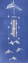 Fashion gift idea for dolphin lovers - glass dolphin mobile and aluminium pipe windchime