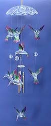 Garden and home decor accessory - hummingbird glass windchime