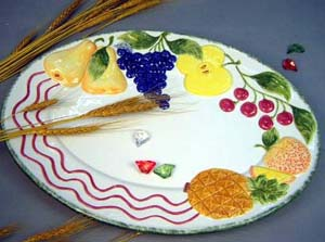 Home kitchen decor supply - painted fruit decor ceramic dinning plate
